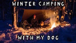 Winter Camping Overnight with My Dog