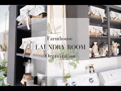 Farmhouse Laundry Room Organization