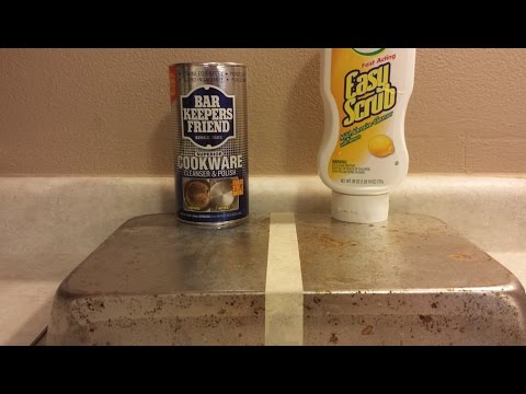 How To Clean A Pan, Remove Rust, Bar Keepers Friend VS Easy Scrub.