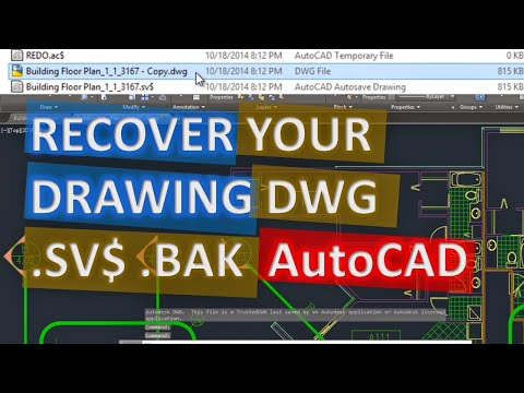 Recover AutoCAD file DWG .SV$ .BAK easy and fast, Find Autosave or Backup File