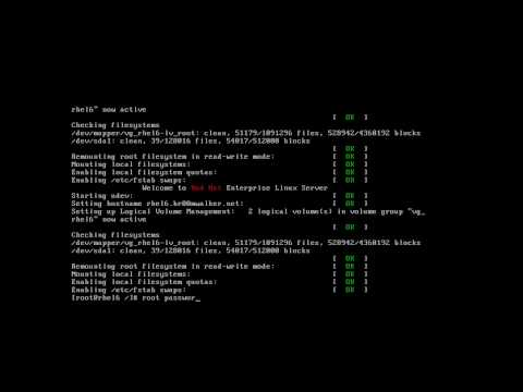 Red Hat Enterprise Linux Reset root Password