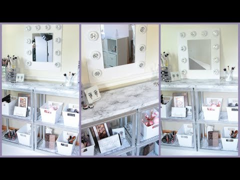 DOLLAR TREE VANITY DESK MARBLE AND SILVER