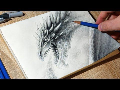 Sketching Dragon Breathing Fire 🔥 - Time Lapse Fantasy Art