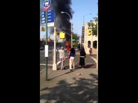 NYCT bus on fire Jamaica NY