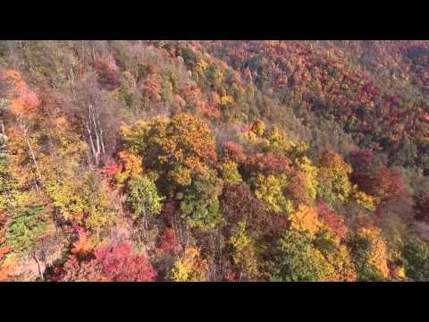 DJI Phantom 3 flight over Boone North Carolina Blue Ridge Parkway  fall foliage mountains