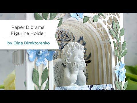 Handmade Dimensional Paper Diorama / Figurine Holder with Olga