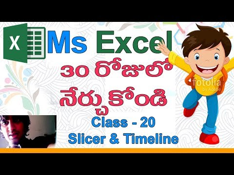 Ms Excel in Telugu | Telugu Ms Excel Classes | Class - 20 |🐀| Filters Group | Slicer | Timeline