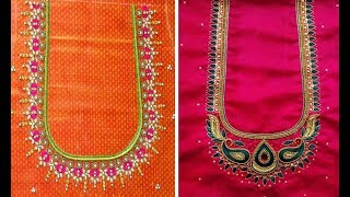 Simple And Elegant Blouse Designs For Back Neck Blouse Designs For Back Aari Maggam Work Blouse,Jamaican Toe Nail Designs