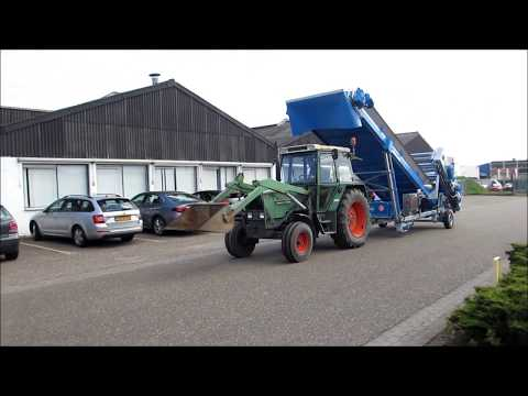 Mushroom Machinery - Transporting the Emptying Unit behind Tractor