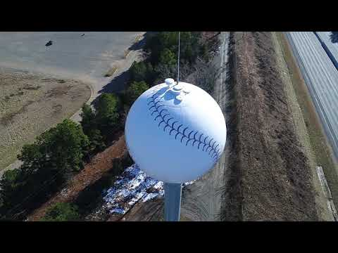 Water Tower Buzz from a DJI Phantom 4 Pro Plus Drone Baseball Charlotte