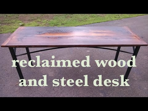 make a rustic/industrial reclaimed barn wood and steel desk