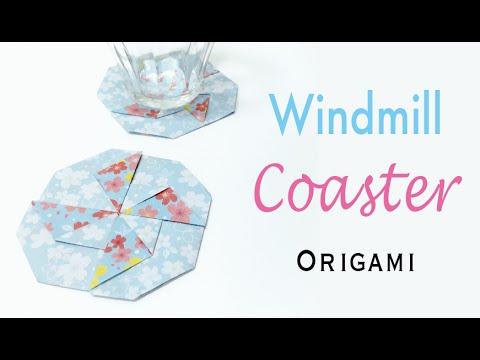 Windmill Blade(Pinwheel Sail) Coaster Mat Origami Paper Tutorial - Origami Kawaii〔#163〕