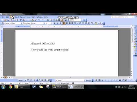 MS Word 2003 how to add wordcount toolbar