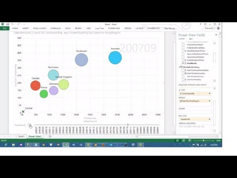 Excel 2013 PowerView Animated Scatterplot/Bubble Chart Business Intelligence Tutorial