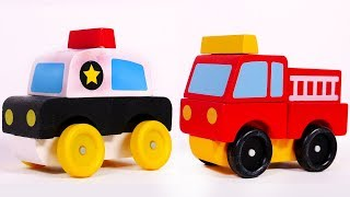 Police Car Fire Truck and Ambulance Puzzles for Kids Learn Colors for Children