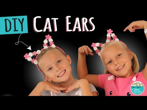 How to Make DIY Cat Ears using Scrapbook Flowers | Kids Crafts by Three Sisters