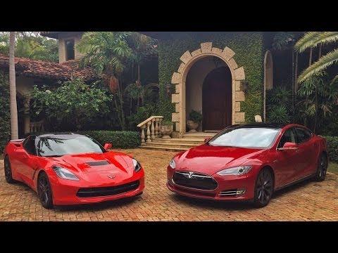 2013 Tesla Model S P85 vs 2014 Chevrolet Corvette C7 Z51 Drag Racing 1/4 Mile Heads up