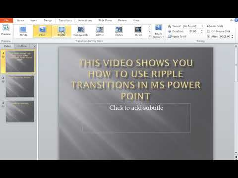 How to use Ripple Transitions in MS Power Point