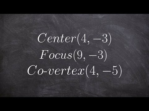 How to write the equation of an ellipse given the center, focus and co vertex