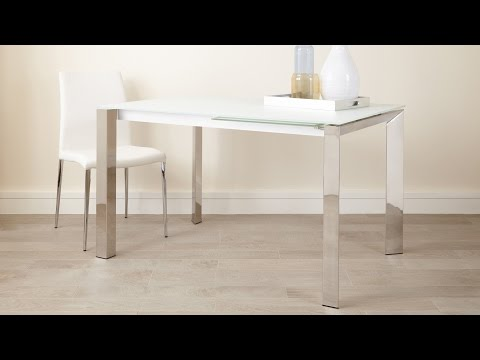 White Frosted Glass Extending Dining Table with Chrome Legs