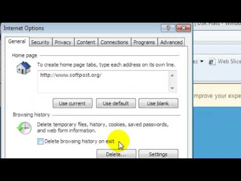 How to delete history, cache and cookies in internet explorer 8
