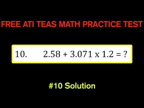 ATI TEAS MATH Number 10 Solution - FREE Math Practice Test - Order of Operations With Decimals