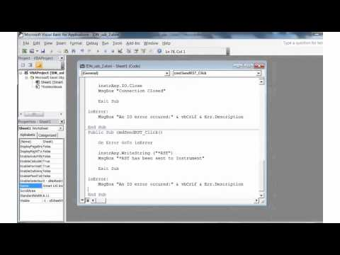 Visual Basic for Excel, Simple Example Program to Control Instruments