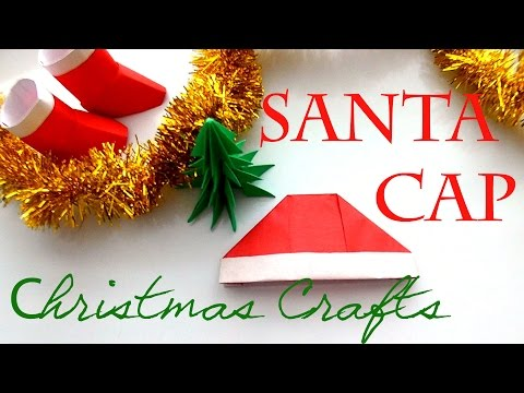 Christmas Crafts.  How to make a Paper Hat? Origami Santa Cap