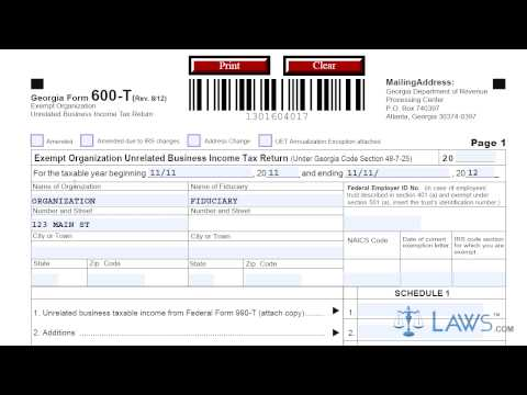 Form 600T Exempt Organization Unrelated Business Income Tax Return