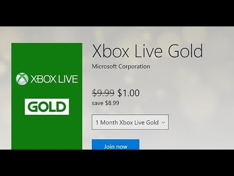 XBOX LIVE GOLD 1 MONTH Only $1.00! (Limited Time Offer)