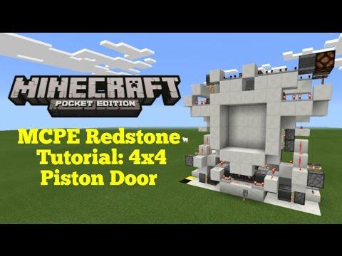 Minecraft Pocket Edition Redstone Tutorial: 4x4 Piston Door (MCPE 0.16.2)