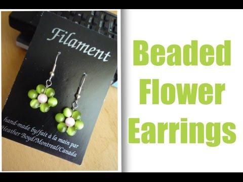 Beaded Earrings Daisy Flower DIY Tutorial