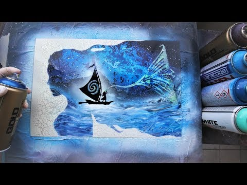 Moana GLOW IN DARK - SPRAY PAINT ART - by Skech