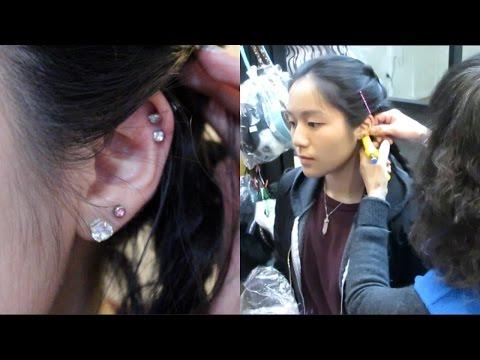 Getting My Ears Pierced!! Cartilage & Double Piercing 02.26.17 | Cyndercake415