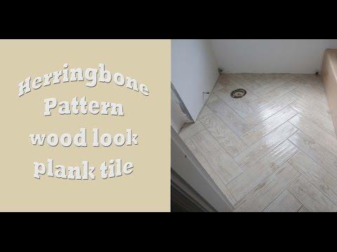 Herringbone Pattern wood look large format plank tile install