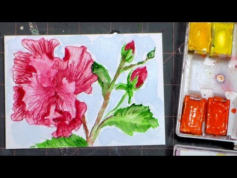 Ruffled Pink Flower Mini Painting Full Tutorial