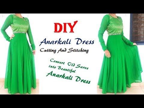 DIY Anarkali Dress Cutting And Stitching Full Tutorial ( English Version)