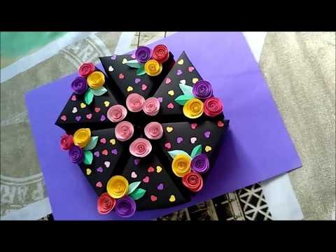 Handmade Cake Box | Paper Cake | Birthday Cake Gift Box | Toffa4u  [tutorial]