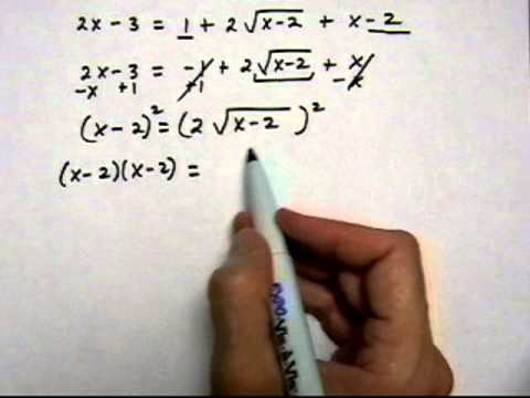 solve square root equation with two square roots, two solutions - (cr).mov