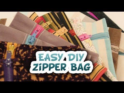 How to 5 Minute Zipper Bag {EASY DIY} - Whitney Sews