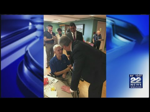 Gov. Baker visits veterans at Holyoke Soldiers Home on Memorial Day