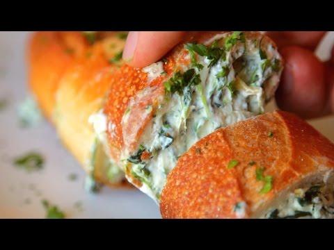 Spinach Artichoke Stuffed Garlic Bread