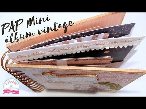 Tutorial | Scrapbook Mini Album Vintage + Layout 30x30 Scrapbook #jujuscrapbox