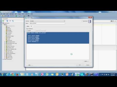 Create A New Table in ORACLE SQL Developer