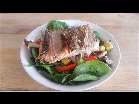 Seafood Salad - Fish Salad - Salmon Salad -  Asian Salad - Grilled Salmon Salad - Healthy Salad -
