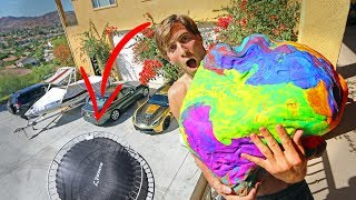 100LB PLAY DOH BALL DROPPED 30FT ONTO TRAMPOLINE!