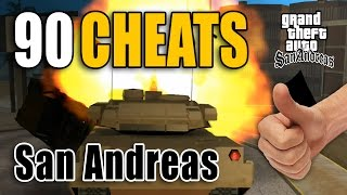 All 90 PC cheats for GTA San Andreas. Cheats to spawn cars, bikes, planes, tank, Jetpack, money, health, weapon and much more...  Weapon, Amor, Aim Cheats  Weapon Set 1 - 0:16 Weapon Set 2 - 0:38 Weapon Sack 3 - 1:00 Health, Armor - 1:18 +1 Wanted Level  - 1:24 Clear Wanted Level- 1:29 6 star Wanted Level - 1:34  Infinite Ammo, No Reload - 1:42 Never Wanted - 2:09 Full Weapon Aiming While Driving - 2:39 Everyone is armed - 2:52 Hitman In All Weapon Stats - 3:16 Get Parachute - 3:36  Spawn Vehicle Cheats:  Spawn Rhino (Tank) - 4:03 Spawn Bloodring Banger - 4:28 Spawn Rancher - 5:01 Spawn Racecar - 5:32 Spawn Racecar 2 - 6:07 Spawn Stretch (Limousine) - 6:37 Spawn Trashmaster - 6:05 Spawn Caddy (Golf Car)- 7:30 Spawn Hunter (Attack Helicopter) - 7:50 Spawn Quad - 8:35 Spawn Tanker Truck - 9:15 Spawn Dozer - 9:45 Spawn Stunt Plane - 10:20 Spawn Monster Truck - 10:46 Spawn Jetpack - 11:28 Spawn Hydra (Fighter Jet) - 11:57 Spawn Vortex Hovercraft - 12:51 Spawn Romero (Hearse)- 13:21  Other Vehicle Cheats:  Max All Vehicle Skill Stats - 13:42 Invisible Cars - 14:12 Perfect Handling - 14:57 Cheap Cars Traffic - 15:27 Fast Cars Traffic - 16:02 Blow Up All Cars - 17:07 Pink Traffic - 17:22 Black Traffic - 17:52 Cars Fly - 18:12 Country Vehicles And Peds - 18:52 Country Vehicles Traffic- 19:07 Reduce Traffic - 19:37 All Cars Have Nitro - 20:07 Cars Float Away When Hit - 20:32  Player Cheats:  God Mode - 21:02 Infinite Oxygen  - 21:37 Never Get Hungry - 22:12 Fat - 22:27 Max Muscle - 22:37 Skinny - 22:50 Slut Magnet - 23:07  Max Respect - 23:32 Max Sex Appeal - 23:47 VKYPQCF Max Stamina - 24:07 Max All Vehicle Skill Stats - 24:17 Ninja Theme - 24:27 Mega Jump - 24:52  Weather And Environment Cheats:  Sunny - 25:12 Very Sunny - 25:22 Overcast - 25:32 Rainy - 25:42 Foggy - 25:52 Always Midnight - 26:02 Orange Sky (21:00) - 26:12 Thunderstorm- 26:22 Sandstorm - 26:37 Faster Clock - 26:52 Faster Gameplay - 27:07 Slower Gameplay - 27:22 Peds attack you - 27:37 Suicide - 28:02 All L
