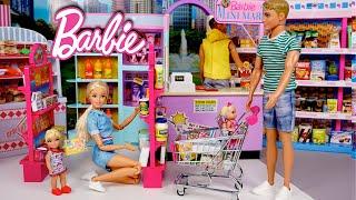 Barbie & Ken Family Evening Routine - Supermarket Grocery Shopping & Babysitting