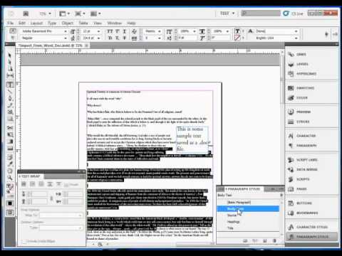 InDesign Tutorial : How to Import Text in Adobe InDesign CS5