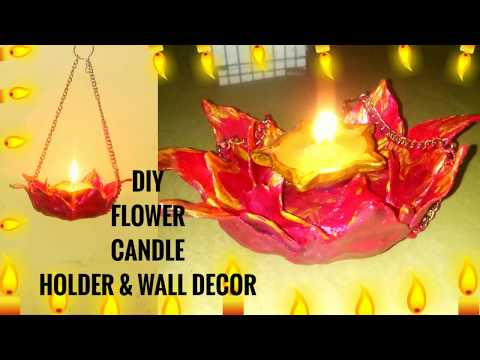 DIY FLOWER CANDLE HOLDER & WALL DECOR